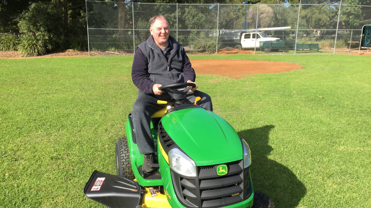 Falcons-new-ride-on-mower